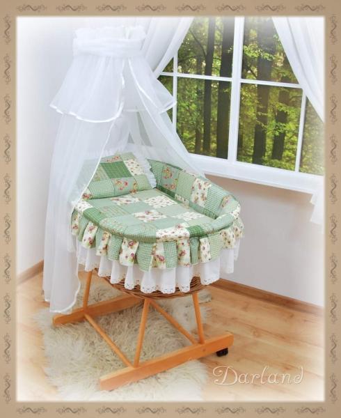 Kôš s výbavou Darland - Patchwork zelený - biela moskytiéra