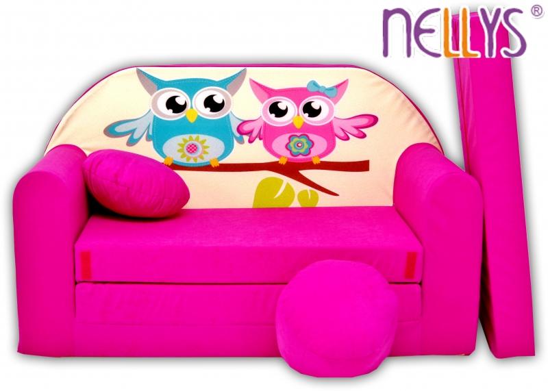 Rozkladacia detská pohovka Nellys ® sovička - ružové