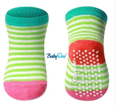 Bavlnené protišmykové ponožky Baby Ono 0m + - Zelené prúžky