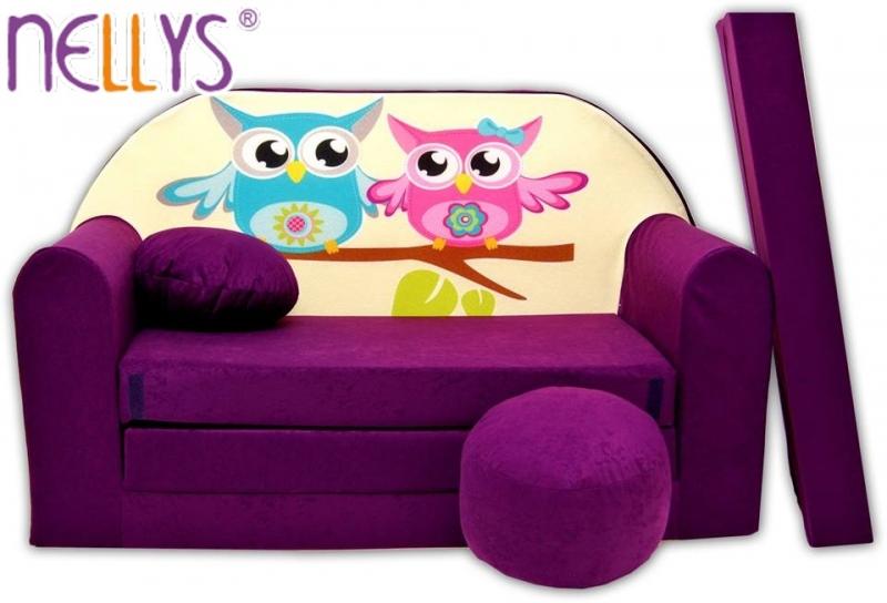 Rozkladacia detská pohovka Nellys ® sovička - fialové
