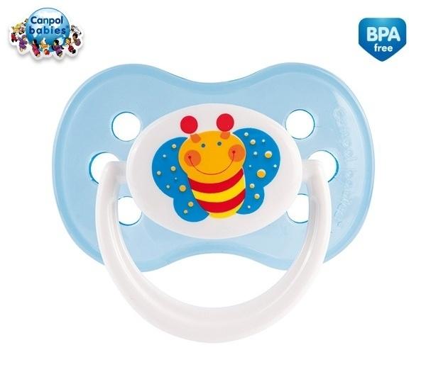 Cumlík Okrúhly Canpol Babies 0-6m - Veselá záhradka - Motýlik modrý