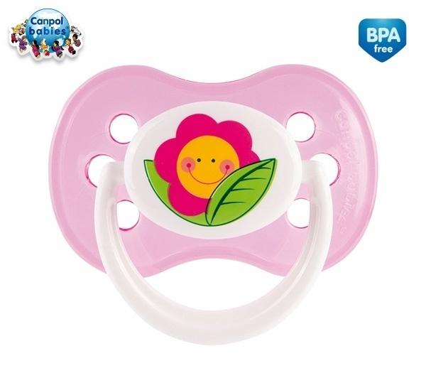 Cumlík Okrúhly Canpol Babies 18m + - Veselá záhradka - Kvetinka ružová