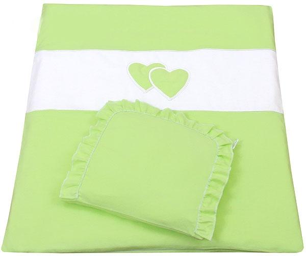 Set do kočíka s výšivkou lux 2D - Srdce - zelená, 2 dílná