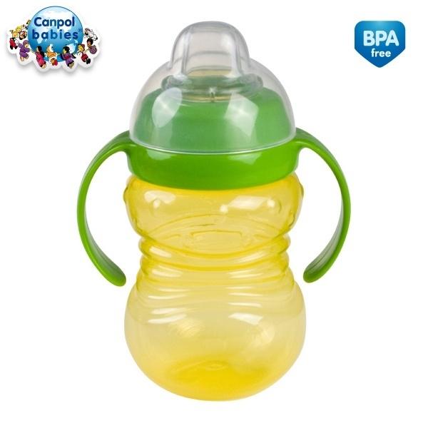 Canpol Babies Športový hrnček s úchytkami - žltý / zelený