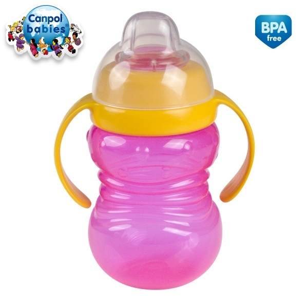 Canpol Babies Športový hrnček s úchytkami - ružová