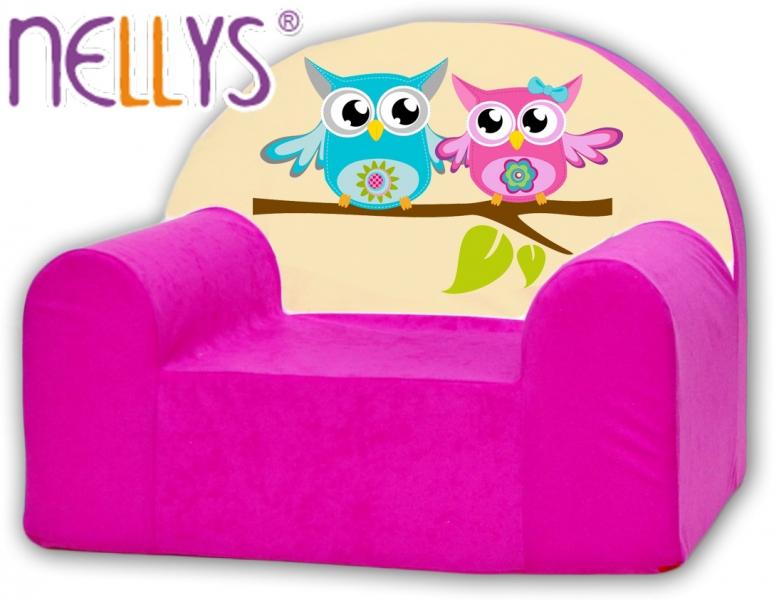 Detské kresielko / pohovečka Nellys ® - sovička Nellys ružové