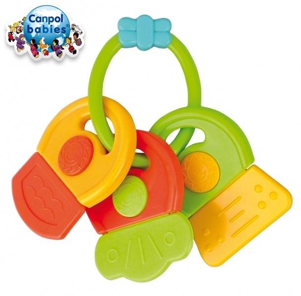 Canpol babies Hryzátko s hrkálkou - KĽÚČE - rôzne farby