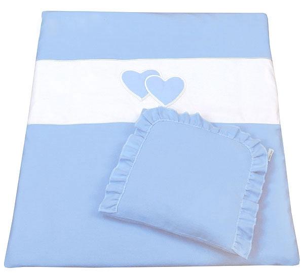 Set do kočíka s výšivkou lux 2D - Srdce - modrá, 2 dílná