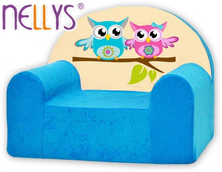 Detské kresielko / pohovečka Nellys ® - sovička Nellys modré