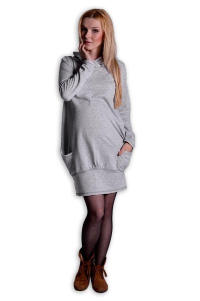 Športové tehotenské šaty s kapucňou - sivý melírek