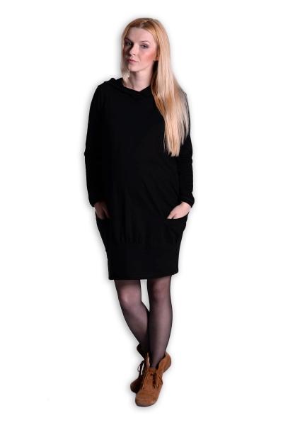 Tehotenské šaty s kapucňou - čierne
