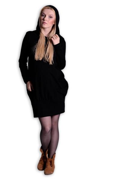 Športové tehotenské šaty s kapucňou - čierne-L/XL