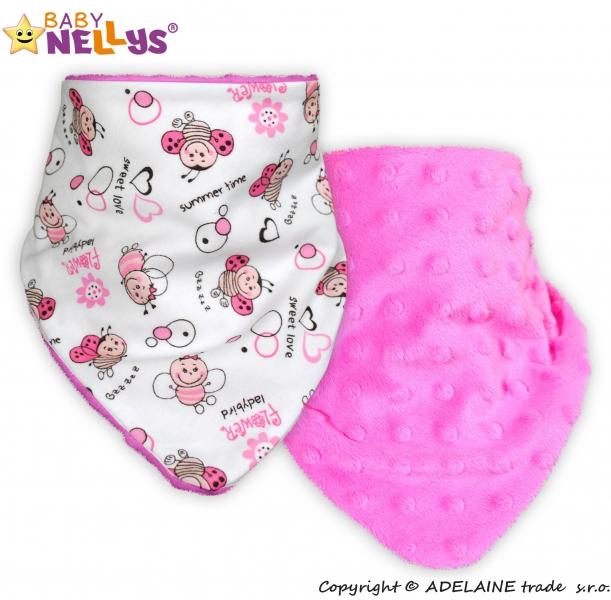 Detský šatka / podbradník na krk Baby Nellys ® Mink - Lienka / sýto ružová