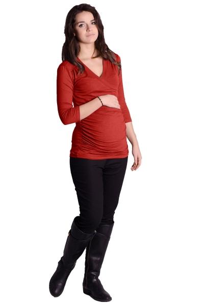 Tehotenský top 3/4 rukáv - cihlová