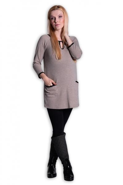 Tehotenská tunika, šaty 3/4 rukáv  - béžová