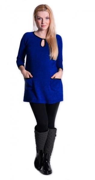 Tehotenská tunika, šaty 3/4 rukáv - sýto tm.modrá