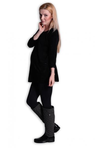 Tehotenská tunika, šaty 3/4 rukáv  - čierna