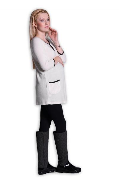 Tehotenská tunika, šaty 3/4 rukáv  - ecru/smetanová