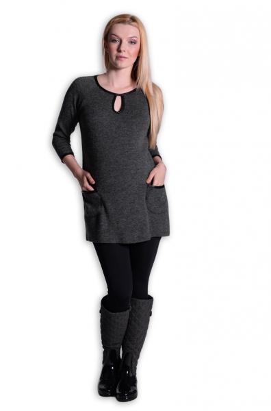 Tehotenská tunika, šaty 3/4 rukáv  - grafit