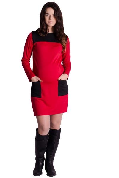 Tehotenské šaty / tunika - červené