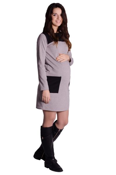 Tehotenské šaty/tunika - tm. šedý melír