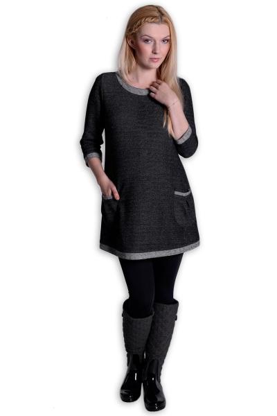 Tehotenské šaty Danny 3/4 rukáv - šedá/grafit