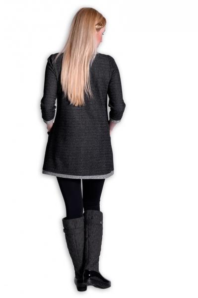 Be MaaMaa Tehotenské šaty Danny 3/4 rukáv - šedá/jeans