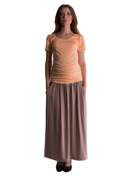 Be MaaMaa Maxi dlhá sukňa Maxine - béžová / cappuccino