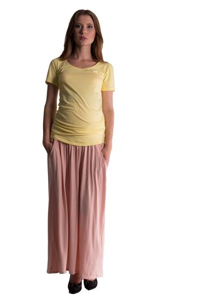 Maxi dlhá sukňa MAXINE - pleťová
