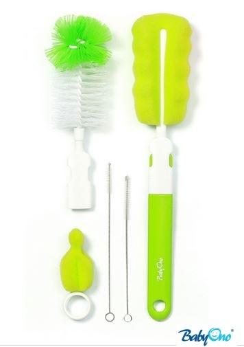 BabyOno Sada štetiek / kief na umývanie fľaštičiek - zelené