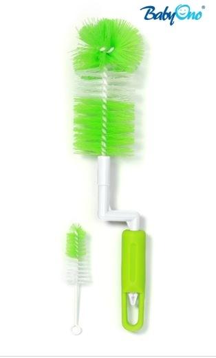 Kefa na umývanie fľaštičiek otočný - zelený