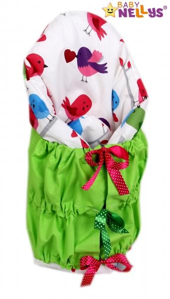 Zavinovačka, perinka de lux - Vtáčiky farební / zelená