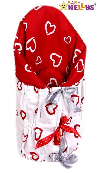 Zavinovačka, perinka de lux - Srdiečka biela v červenej / červená srdiečka v bielej