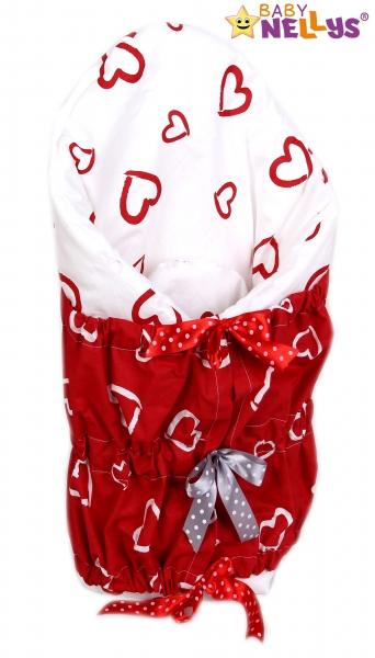 Zavinovačka, perinka de lux - Červená srdiečka v bielej / Srdiečka biela v červenej