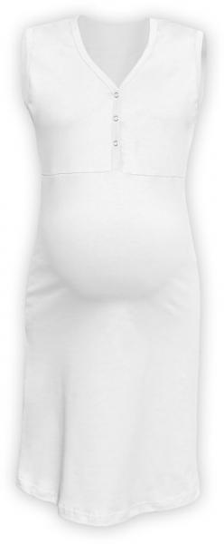 Tehotenská dojčiaca nočná košeľa PAVLA bez rukávu - biela
