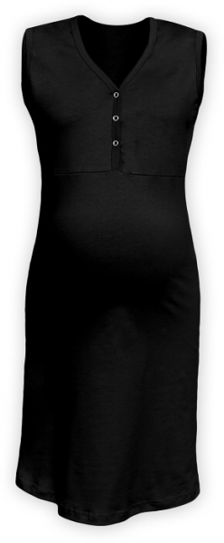 Tehotenská, dojčiace nočná košeľa PAVLA bez rukávu - čierna-S/M