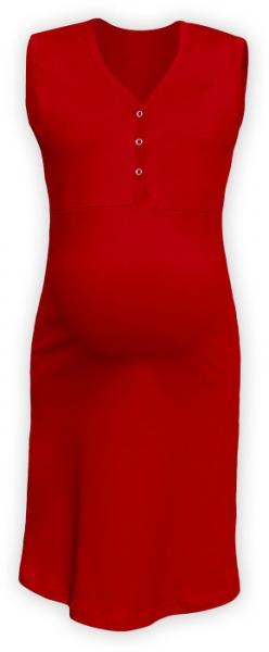 JOŽÁNEK Tehotenská, dojčiace nočná košeľa PAVLA bez rukávu - červená