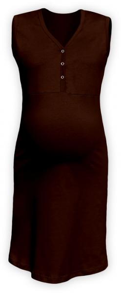 JOŽÁNEK Tehotenská, dojčiace nočná košeľa PAVLA bez rukávu - hnedá-#Velikosti těh. moda;M/L
