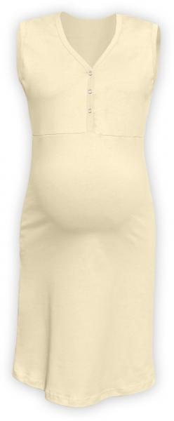 JOŽÁNEK Tehotenská, dojčiace nočná košeľa PAVLA bez rukávu - latte-L/XL
