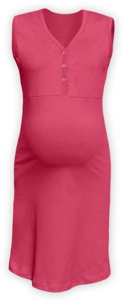 Tehotenská, dojčiace nočná košeľa PAVLA bez rukávu - lososovo ružovej