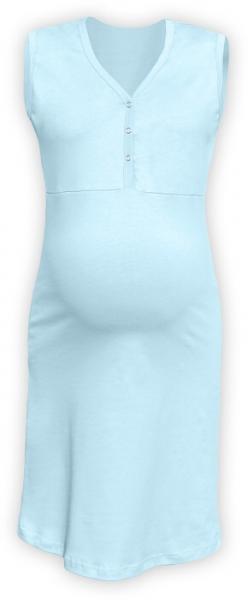 Tehotenská dojčiaca nočná košeľa PAVLA bez rukávu - sv. modrá