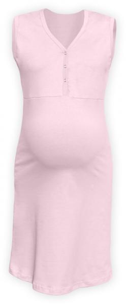 Tehotenská, dojčiace nočná košeľa PAVLA bez rukávu - sv. ružová-S/M