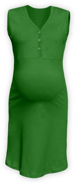 Tehotenská, dojčiace nočná košeľa PAVLA bez rukávu - zelená
