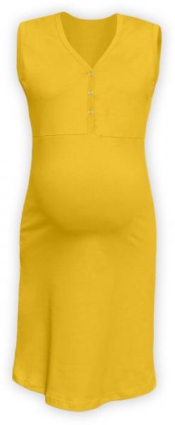 Tehotenská dojčiaca nočná košeľa PAVLA bez rukávu - žltá