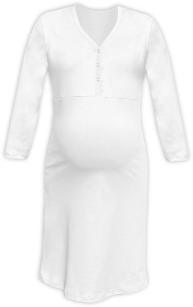 Tehotenská, dojčiace nočná košeľa PAVLA 3/4 - biela