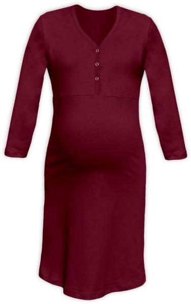 Tehotenská, dojčiace nočná košeľa PAVLA 3/4 - bordó-L/XL