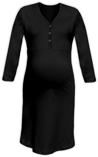 Tehotenská dojčiaca nočná košeľa PAVLA 3/4 - čierna