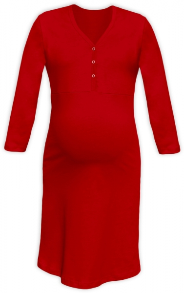 Tehotenská dojčiaca nočná košeľa PAVLA 3/4 - červená