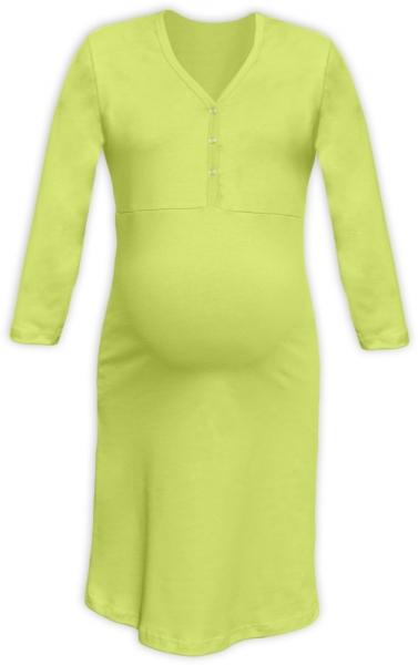 Tehotenská dojčiaca nočná košeľa PAVLA 3/4 - hráškovo zelená