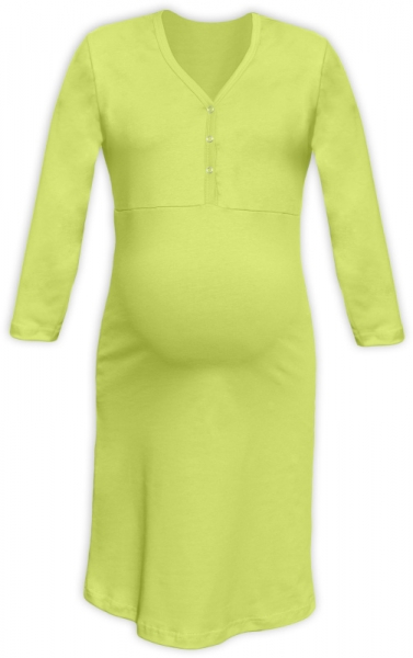 Tehotenská, dojčiace nočná košeľa PAVLA 3/4 - hráškovo zelená